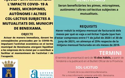 Ayudas para minimizar el impacto económico que la COVID-19 está suponiendo sobre pymes, micropymes, autónomos y otros colectivos sujetos a mutualidades del municipio de Beneixama.