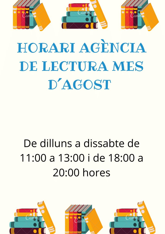 HORARIO AGENCIA DE LECTURA MES DE AGOSTO
